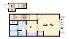 西飾磨駅まで徒歩圏内!南向きで明るい室内♪NTT光導入済・BS完備 201の間取