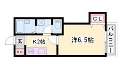 バス・トイレセパレート☆ 相生駅徒歩5分の駅近物件! 是非ご内覧を♪ 203の間取