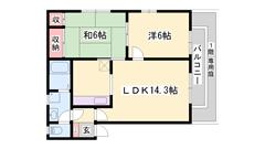 駐車場1台分込みの2LDKハイツです♪独立キッチン!1階は専用庭付き! 202の間取