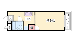 敷地内駐車場完備 室内洗濯機置場有り ゆったりの1DKタイプです 401の間取