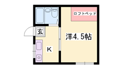 駐車場1台分込のお家賃ですよ  キッチン新品  ロフトベッド完備。 202の間取