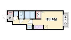 山電西飾磨駅まで徒歩2分!設備充実の築浅ハイツ♪ 102の間取