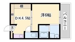 リフォーム物件☆ユニットバス・トイレ・洗面化粧台・エアコン新品♪ 407の間取