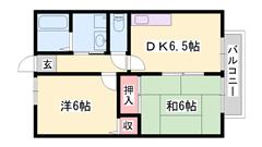 低額賃料の2DK!船津小学校、香寺中学校、学校区です☆ 201の間取