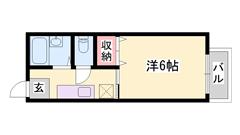 敷礼0円!!バストイレセパレートです☆ペットと一緒に住めるハイツです!! 201の間取