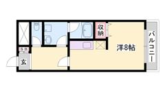 オール電化☆電気コンロ☆ミニ冷蔵庫☆エアコン☆築浅キレイな内装が人気です♪ 206の間取
