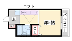加古川駅まで徒歩10分!有線無料受信!照明・エアコン設置! 411の間取
