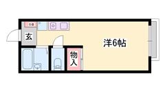 敷金0円!バストイレセパレート☆英賀保駅まで徒歩6分です。 202の間取
