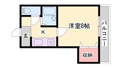 野里駅近くでアクセスも良好♪この家賃でバストイレ別でコストパフォーマンス◎です! 202の間取