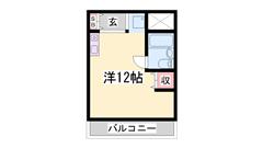 京口駅徒歩7分!都市ガスのワンルームです。 403の間取