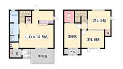 オール電化 駐車場2台分込み 1F南北専用庭 カウンターキッチン☆ 2の間取