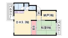 駐車場1台込み☆ 2DKでこのお家賃!日当り良好です。 103の間取