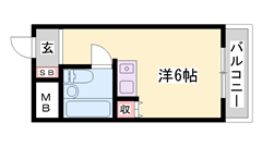 敷金0円物件☆ 都市ガスで経済的! エレベーター オートロック! 205の間取