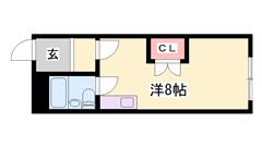 敷礼0&0!!嬉しいエアコン付き☆駐車場4,000円(税別)☆洋室広々8帖♪ 105の間取
