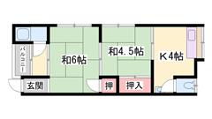 駐車場敷地内完備☆山陽播磨町駅まで徒歩4分☆日当たりの良いお部屋です☆ 2-Dの間取