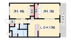 竜野駅まで徒歩16分!対面キッチン仕様の築浅2LDKハイツです♪ 102の間取