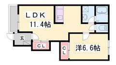 人気のカウンターキッチン☆バルコニー南向き☆設備充実の1LDKです♪ 103の間取