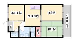 周辺環境便利です。3DKでこの家賃!駐車場敷地内3,000円/月! 202の間取